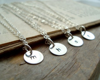 Personalized Initial Silver Charm Necklace - Set of 4 Sterling Silver Monogram Pendant Custom Initial Disc Initial Pendant Bridesmaids