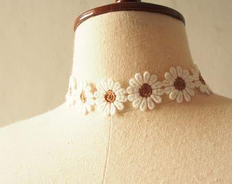 Lace Choker Necklace Brown Floral Choker Sunflower Daisy Choker Necklace Boho Bohemian Gypsy Hipster Style