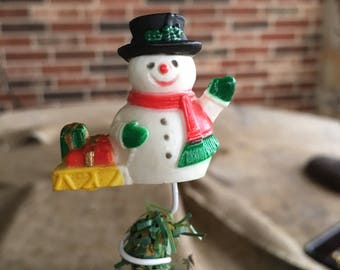 "Vintage Mid Century Hard Plastic Snowman and Sled for  Small Feather Tree Topper, Mini 3"" Tall"