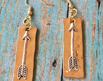 ARROW Gold Earrings Silver Arrow on Light Gold Dangle Bar