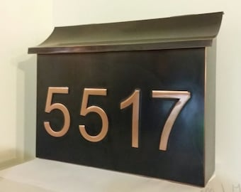Copper Mailbox with house numbers