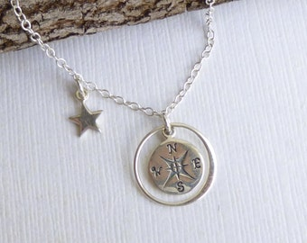 Sterling Silver Compass Necklace With Guiding Star... Graduation... Thank You... Mentor... Mother of the Bride