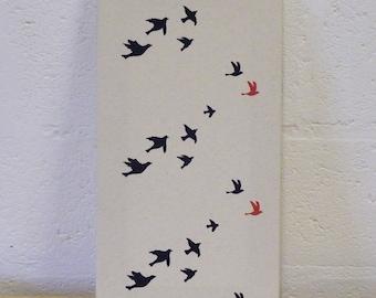 Flock of birds canvas