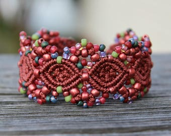 Micro-Macrame Cuff Bracelet. Modern Macrame. Beaded Cuff. Red Beaded Bracelet. Red Macrame Cuff. Statement Jewelry. Boutique Fashion Piece.