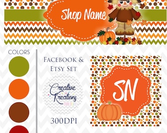 Timeline Banner Scarecrow Fall Thanksgiving Facebook Cover Set Facebook Business Page Set - Digital Files
