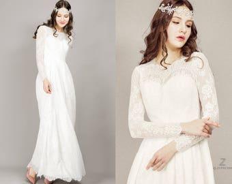 Long sleeve wedding dress/ Boho Wedding Dress/ White Lace Dress/ Bohemian wedding/ Lace wedding dress/ Vintage Wedding/ Custom made to fit