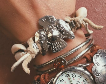 RVC-52, repurposed vintage thunderbird concho and shell genuine leather bracelet
