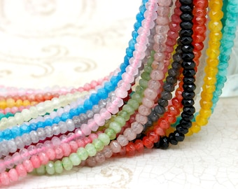 Dye Jade Faceted Roundelle Gemstone Loose Beads 2mm x 4mm