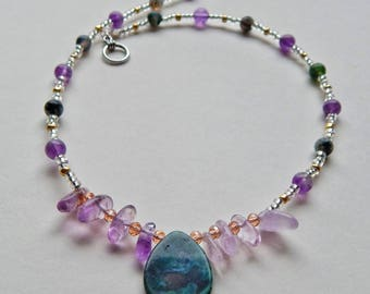 Amethyst and moss agate necklace