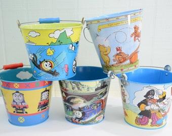 Vintage 90's Schylling Metal Buckets - Thomas the Train, Felix the Cat, Winnie the Pooh, Popeye