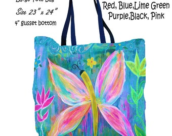 Pink butterfly art double sided art printed beach bag from my artwork.