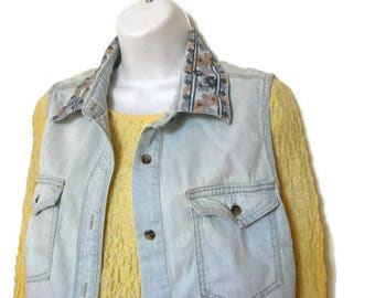 Denim vest with embroidered collar - denim festival clothes - lightblue short HIPSTER vest - sleeveless top - gift for friend - womens SMALL