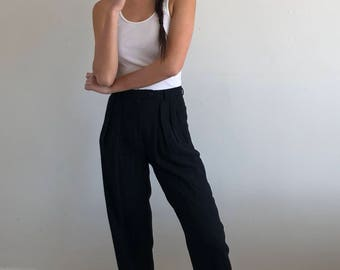 90s high waisted black wool trousers / pleated pants baggy pants  | 26W size 2 4