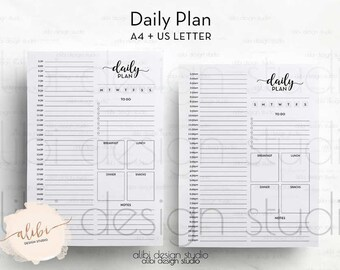 Hourly Planner, Daily Planner, A4 Printable, Daily Schedule, Daily Organizer, Meal Planner, To Do List, A4 Binder, Printable Planner