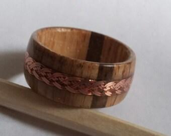 Oak and Walnut Braid Ring