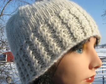 White Alpaca Hat, Knit Hat for Men or Women, Handmade Beanie, Winter Hat