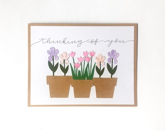 Thinking of you, Handmade Card, Potted Flowers, Free Shipping
