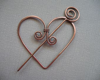 Twisted Heart Two Piece Copper Scarf Pin Shawl Pin Sweater Pin Closure for Your Knits and Weaves