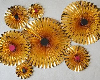 Pinwheel Backdrop, 7 piece Party Decor Pack, Gold Pinwheel Decor, Birthday Party Decor, Bachelorette Party, Wedding Decor, Party Decor