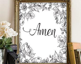 Amen Christian Art, Christian Printable Art, Bible Verse Print, Christian Printable Art, Nursery Art Print, Christian Wall Art, Scripture120