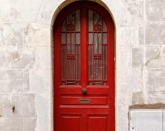Door Photography, Red Door Photograph, Paris Decor, Paris Print, Travel Photography, Rustic Home Decor - Little Red Door