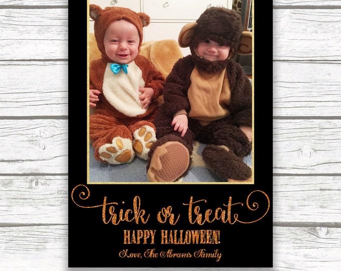 Halloween Photo Card, Trick or Treat Photo Card, Personalized Halloween Photo Card, Halloween Greeting Card, Printable Photo Card