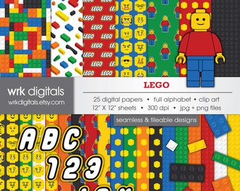 Lego Seamless Digital Paper and Clip Art Pack, Digital Scrapbooking, Instant Download