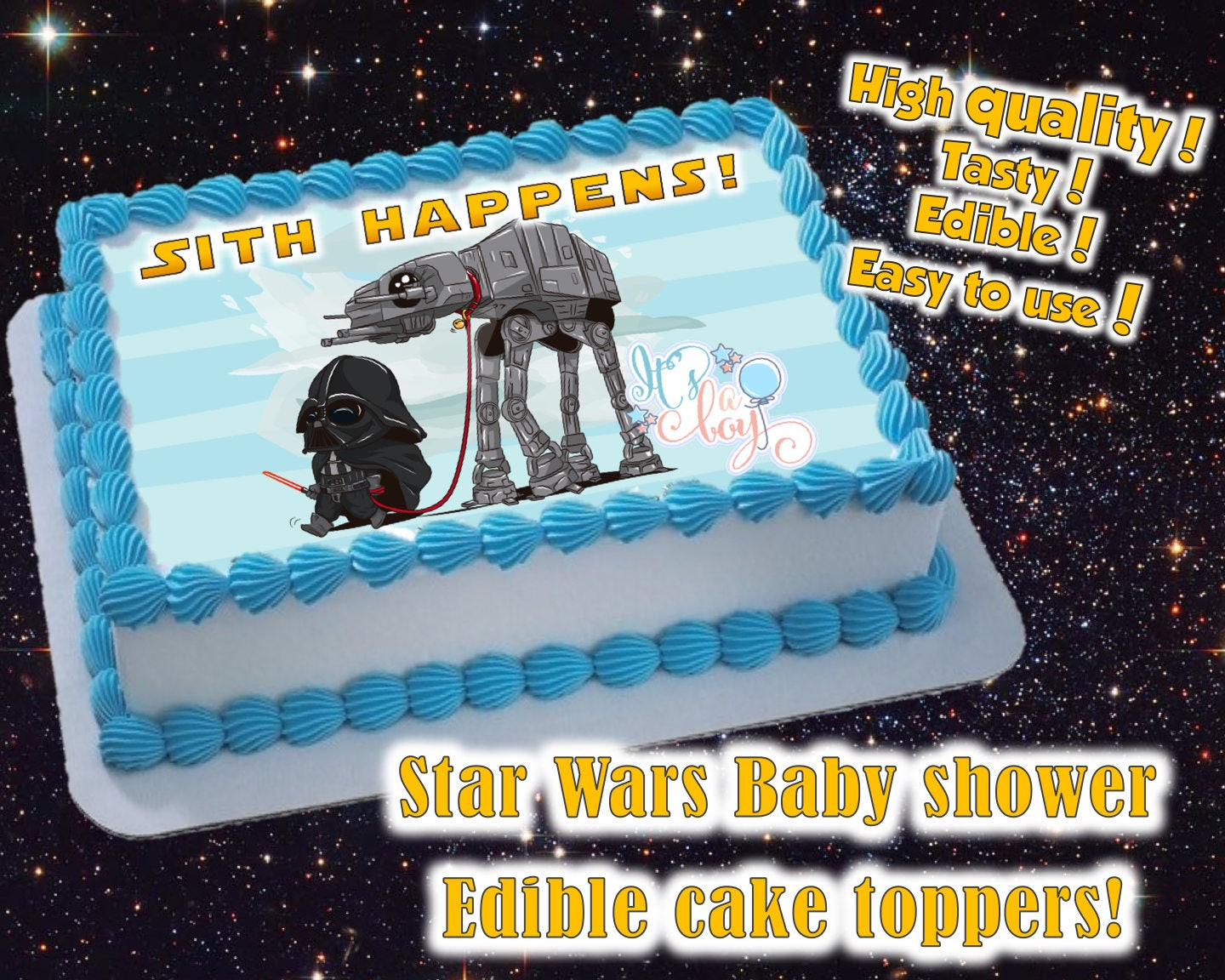 Star Wars themed Boy or Girl Baby shower cake toppers edible