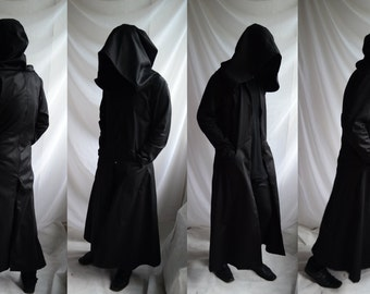 Darkside Overcoat ( extra large hood mens black dark coat overcoat trench reaper ritual cosplay street urban full length )