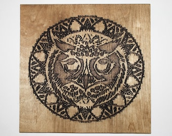 Laser Engraved Wood Owl Mandala