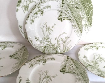 Antique Wileman (pre Shelley) Cake Plate Set - Aesthetic movement-  c1890
