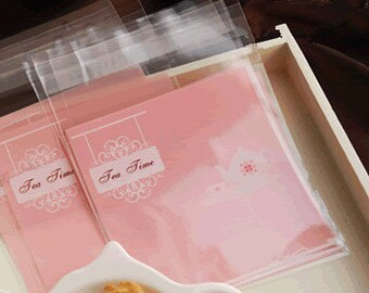"""Small Favor Mini Bags, Self-Seal Party Packaging, """"Tea Time""""  - set of 10"""