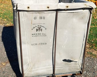 Vintage Canvas Laundry Cart Industrial Sorting Basket Manufactured by the Shamrock Meese of Madison Indiana