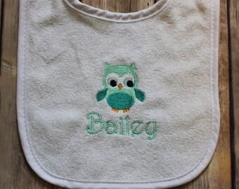 Personalized Owl Baby Bib, Monogrammed Owl Baby Bib, Owl Baby Bib, Forest Animal Baby