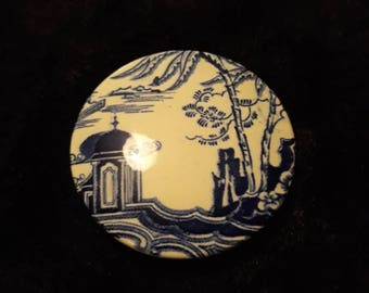 Vintage Oriental Blue And White Ginger Jar Lid