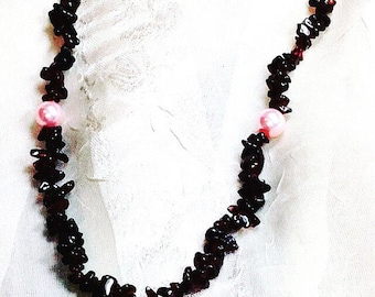 Endless Necklace in Garnet And Pink Glass Pearls, Handmade Jewelry by NorthCoastCottage Jewelry Design & Vintage Treasures