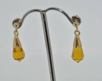 9ct yellow gold citrine briolette faceted drop earrings