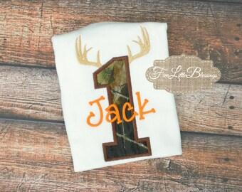 Camo Birthday - first birthday shirt - deer hunter - buck hunt - duck - camo - little boy - little girl - camo and blaze - little boy shirt