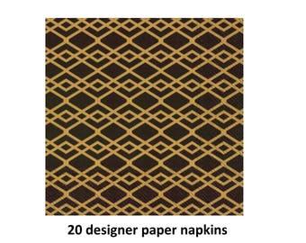black and gold paper napkins, graduation decorations, designer tableware, elegant wedding, retirement party, bridal shower, anniversary
