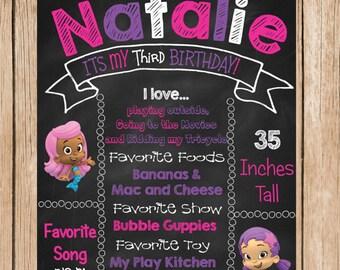 Girl Bubble Guppies Birthday Chalkboard