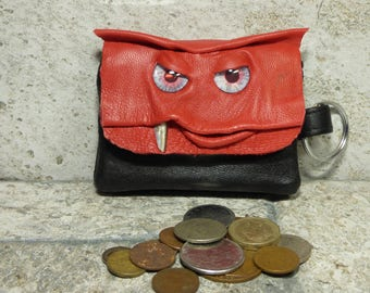 Coin Purse Zippered Change Purse Red Black Leather Monster Face Pouch Key Ring 29