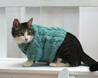 Mint Sweater for Cat, Hand knitted turquoise wool top, Clothes for cats, Cat clothes, Warm knit sweater, Handmade pullover, Blue sweater