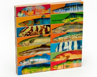 Fathers Day Gifts for Husband, Gifts for Him, Fish Prints, Gifts For Dad, Gifts for Men, Saltwater Fish Art, Whole Mess of Fish Sticks