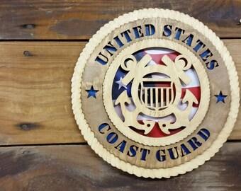 US Coast Guard Military Tribute Plaque, Coast Guard Gift, Coast Guard Memorabelia, Laser Engraved