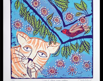 linocut, can't deny your nature, cat art, bird print, nature, leaves, ginger cat, flowers, fun, humor, printmaking, colorful, kitty