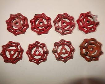 "Eight similar red round valve handles. 2- 1/8"". iron. .D.I.Y. Drawer pulls, Steampunk, industrial. Vintage."
