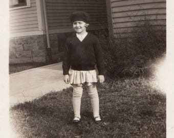 Original Vintage Photograph Snapshot Girl Beret & Sweater 1920s