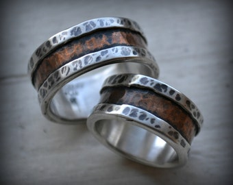 rustic wedding rings - fine silver and copper -  handmade artisan designed wedding bands - his and hers - oxidized wedding rings, customized