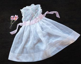 Girls Vintage Sheer Embroidered Dress - 1960s - size 10