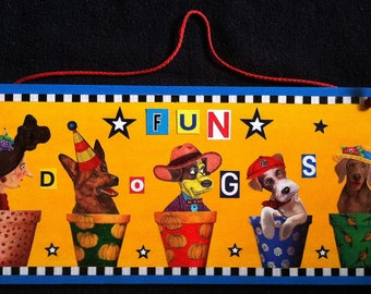 Wooden Dog Collage Sign, Colorful